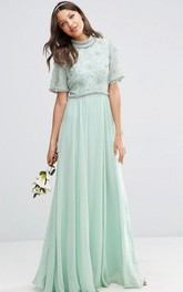 Floor-Length Bell Sleeve High Neck Beaded Chiffon Bridesmaid Dress With Pleats