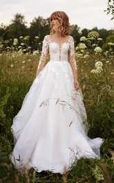 Illusion Sleeve Tulle Adorable Wedding Dress With Lace Details And Illusion Button Back