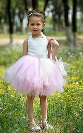 Flower Girl Halter Tiered Tulle Mini Dress With Lace Up