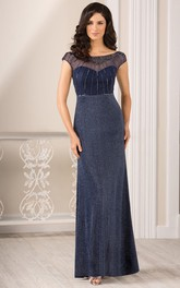 Cap-Sleeved Long Gown With Beadings And V-Back