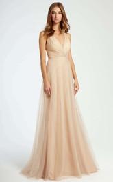 Criss-Cross V-Neck Sleeveless Tulle Bridesmaid Dress With Brush Train