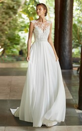Deep V-back Ethereal Cap Sleeve And Court Train Lace Chiffon Wedding Dress