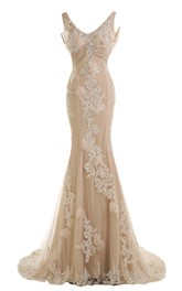 V-neck Mermaid Gown With Appliques and Pleats