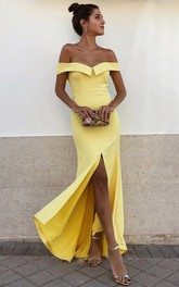 Casual Satin Sheath Off-the-shoulder Sleeveless Prom Dress With Split Front