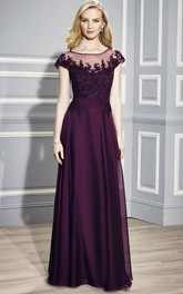 Long Scoop-Neck Cap-Sleeve Appliqued Chiffon Formal Dress