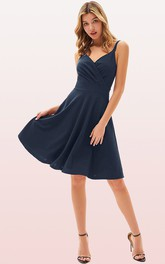 Sexy Jersey V-neck A Line Sleeveless Prom Guest Dress With Ruffles
