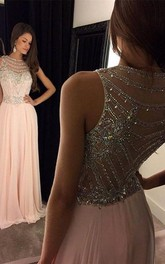 Newest Crystals Chiffon A-line Evening Dress Illusion Floor-length