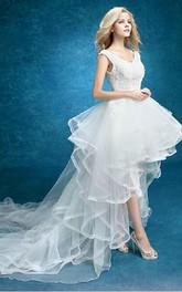 Mermaid Short V-Neck Sleeveless Split Front Split Lace Dress