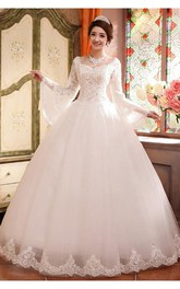 Glamorous Long Sleeve Sequins Lace Wedding Dresses 2018 Ball Gown Tulle
