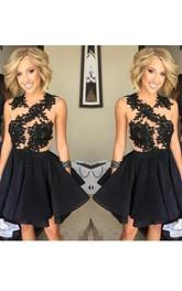 A-line Sleeveless Chiffon Lace Jewel Short Mini Homecoming Dress