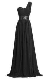 Sweetheart Floor Length One Shoulder Chiffon Dress