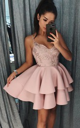 Satin A Line Sleeveless with Beading Ruffles and Tiers Homecoming Dress