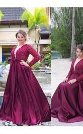 A-Line Satin Lace V-neck Long Sleeve Zipper Low-V Back Dress