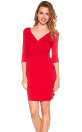 3-4 Sleeved Short Sheath Dress with Ruches