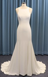 Sleeveless Jewel Neck Mermaid Satin Wedding Dress With Ruching And Illusion Back With Buttons