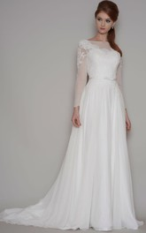Sheath Long-Sleeve Bateau-Neck Chiffon Wedding Dress With Illusion