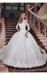 Elegant Tulle Lace Appliques 2018 Wedding Dress Ball Gown 3-4-Length Sleeve