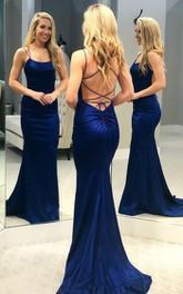 Sexy Jersey Mermaid Spaghetti Sleeveless Prom Dress With Cross Back Ruching