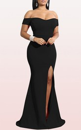 Modern Off-the-shoulder Jersey Mermaid Sleeveless Guest Formal Dress With Split Front