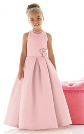 Flower Girl Jewel Cutaway Shoulders Satin Ball Gown With Pleats