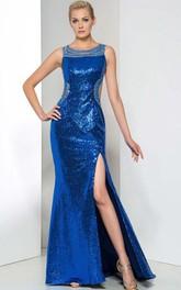 Side-Split Sequins Open Back Evening Dress