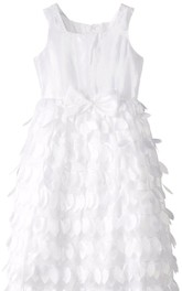 Sleeveless A-line Dress With Petals and Straps