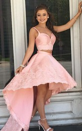 Satin Lace High-Low Two Piece Sleeveless Romantic Adorable Homecoming Dress