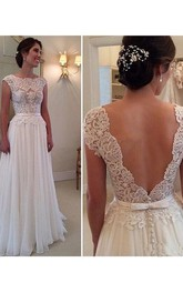 A-line Scoop Sleeveless Applique Floor-Length Chiffon Dresses