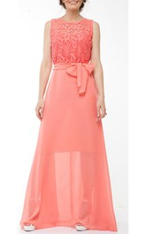 Coral Bridesmaid Chiffon Coral Evening Wedding Coral Lace Long Dress