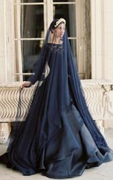 Unique Navy Blue Tulle Bridal Veil