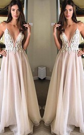 Chiffon Floor-length A Line Sleeveless Casual Evening Dress with Appliques