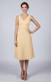 V Back V Back A-line Chiffon Short Dress Soft Cream