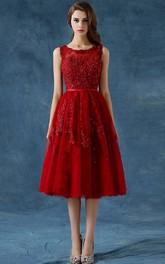 A-Line Scoop Appliques Beading Button Tea-Length Prom Dress