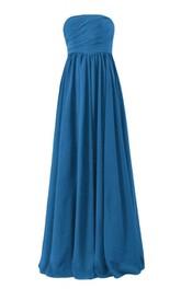 Strapless Ruched Bodice Long Pleated Chiffon Dress