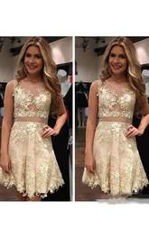 A-line Sleeveless Lace Bateau Short Mini Homecoming Dress