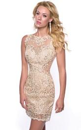 Bateau Neck Sleeveless Sheath Lace Homecoming Dress With Sequins