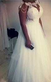 Plus Size Elegant A Line Lace Beading Bone Bodice Tulle Bridal Gown