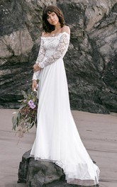 Simple Off-the-shoulder Lace Tulle A Line Long Sleeve Floor-length Sweep Train Wedding Dress
