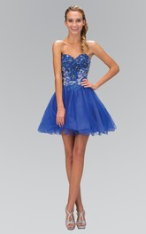 A-Line Short Sweetheart Sleeveless Tulle Lace-Up Dress With Beading And Appliques