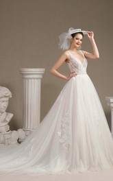 Sexy Plunging V-neck Sleeveless Ballgown Wedding Dress With V-back And Lace Appliques