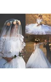 Romantic Off Shoulder Illusion Half Sleeve Button Back Appliques Lace Bridal Gown