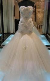 Mermaid Sleeveless Sweetheart Court Train Beading Tulle Wedding Dresses