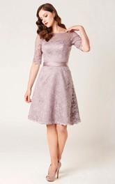 A-Line Knee-Length Appliqued Half Sleeve Bateau Neck Lace Bridesmaid Dress
