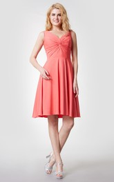 Comfortable V Neck Knee Length Jersey Dress With Ruching