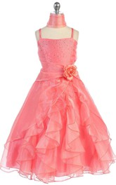 Sleeveless A-line Ruffled Dress With Sequins