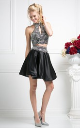 A-Line Mini High Neck Sleeveless Satin Dress With Beading