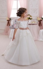 Flower Girl Off-the-shoulder Empire Tulle Ball Gown With Sash