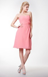 Sweetheart Empire Chiffon Short Dress With Flower