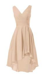 Sleeveless V-neck Asymmetrical Ruched Chiffon Dress