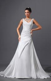 Taffeta V-Neck Sheath Dress With Ruching and Court Train